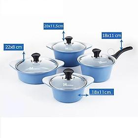 Bộ 4 nồi đúc ceramic chống dính cao cấp (quánh 1 tay cầm 18 cm, nồi 2 tay cầm 18 - 20 -  22 cm)