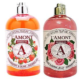 Combo Sữa Tắm L'amont En Provence Rose & Honey Shower Gel Hương Hoa Hồng Chai + Sữa tắm L'amont En Provence Strawberry Shower Gel Hương Dâu (500ml / Chai)
