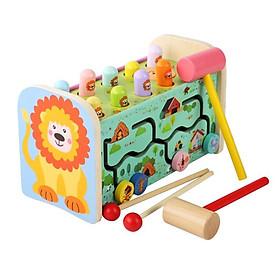Bộ đồ chơi gỗ 3in1 - Đập chuột, đàn và tìm dường ziczac MK00109