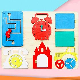 Đồ Chơi Gỗ,Bảng Bận Rộn Busy Board Dành Cho Trẻ Em Từ 1 Đến 3 Tuổi Phát Triển Kỹ Năng Toàn Diện Chủ Đề Lâu Đài Sắc Màu