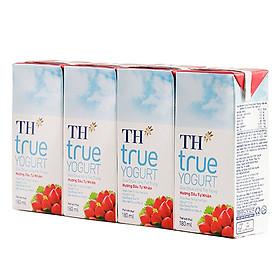 Lốc 4 Hộp Sữa Chua Uống Tiệt Trùng Hương Dâu Tự Nhiên TH True Yogurt (180ml)