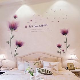 Decal dán tường phòng ngủ hoa pha lê tím lãng mạn