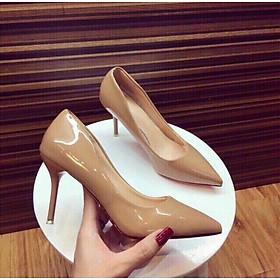 Giày cao gót nữ 9p gót nhọn da bóng dáng basic GC91