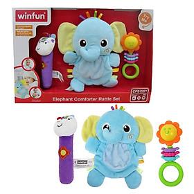 Set 3 đồ chơi cầm tay xúc xắc chíp chíp voi gặm nướu cho bé sột soạt WINFUN 3026 - cho bé từ 0 tới 12 tháng - BPA free
