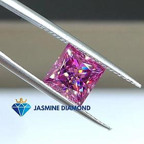 Kim cương nhân tạo Mỹ Moissanite giác cắt Princess màu hồng