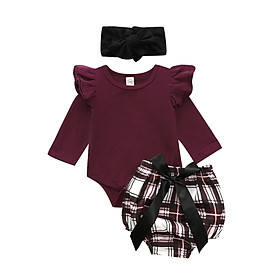 Baby  girl clothes set fly sleeve romper +floral pants +headband clothes autumn Wear 6M-2T