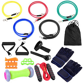 16pcs Fintess Resistance Bands Set Exercise Tube Bands Jump Rope Door Anchor Ankle Straps Cushioned Handles Fitness-6