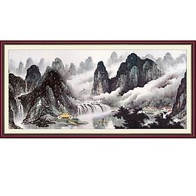 Tranh dán tường 3D bằng vải lụa hình làng núi sông hữu tình