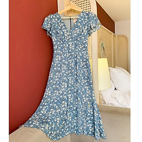 Đầm hoa nhí cổ V sang chảnh - thích hợp mặc đi làm, dự tiệc hoặc du lịch