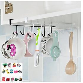 Bộ 2 Móc treo gầm bếp, tủ quần áo- Gía treo đa năng 5 móc  26,5x7cm, màu ngẫu nhiên+ Tặng kèm hình dán ngẫu nhiên