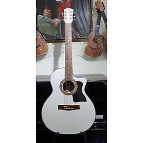 Đàn guitar Aucoustic MKAC165, thùng eo, màu trắng, size 4, kèm bao da 3 lớp, bộ dây