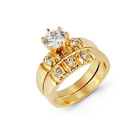 Combo Nhẫn Xoàn cặp đôi Nam Nữ, Phong Phong cách Châu Âu, chất liệu hợp kim mạ vàng, đính đá,  Kèm túi đựng Cung Hỷ - Mẫu CrownX.436B.05