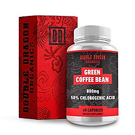 Double Dragon Organics :: Green Coffee Bean Extract - Energy Booster (30 Servings) :: 800MG   50% Chlorogenic Acid :: 60 Capsules :: Natural, Pure, and Gluten Free