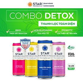 Combo 4 lon mix vị Thức uống lên men STAR KOMBUCHA - Detox Pack (250ml/lon)