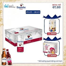 Thùng 24 lon bia Hoegaarden Rosee (330ml/lon)