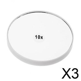 3xTravel Wall Suction Mirror 10x Magnifying for Makeup Cosmetic Bedroom Mirror White