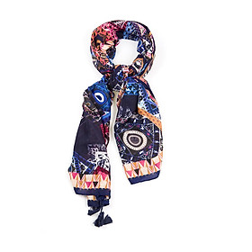 Khăn Choàng Cổ Họa Tiết Hình Học Phối Thổ Cẩm - Cotton Viscose - 180x100cm - Mã KC036