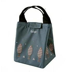Túi đựng cơm, túi đựng thức ăn vải Offord có lớp giấy bạc giữ nhiệt tốt hình cá đen xám