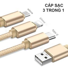 Dây cáp sạc điện thoại đa năng 3 trong 1 dài 1m đa chức năng Lightning, Micro USB, Type-C - Hàng Chính Hãng PKCB