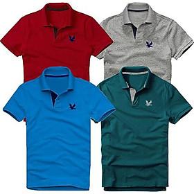 Bộ 4 áo thun nam cổ bẻ cao cấp DokaFashion, chất liệu thun cá sấu 4 chiều ngoại nhập - Đỏ đô, Xám đậm, Xanh dương, Xanh cổ vịt