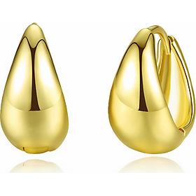 Bông tai khuyên tai bạc S925 hình giọt nước nguyên khối màu vàng