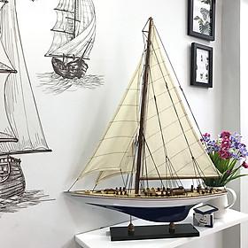 Mô hình du thuyền đua gỗ J Endeavour (thân 50cm - sơn trắng/xanh)