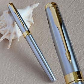 Bút Ký Viết Gel Vỏ Kim Loại Trắng Bạc Điểm Nhấn Mạ Màu Vàng Baoer 388