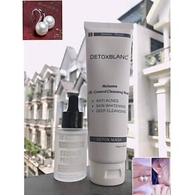 Combo Trắng da, dưỡng ẩm gồm Mặt nạ thải độc Detox Mask và Serum  Essence Peptide +Tặng kèm Hoa Tai Ngọc Trai Cực Xinh