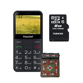 Combo: Điện thoại người già Masstel Fami Viet + Thẻ nhớ Toshiba 8GB tải sẵn kho nhạc + Tặng Túi đựng điện thoại thổ cẩm