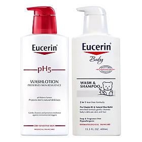 Bộ Sữa Tắm Cho Da Nhạy Cảm Eucerin pH5 Washlotion Có Mùi (400ml) Và Sữa Tắm Gội Cho Bé Eucerin Baby Wash & Shampoo (400ml)