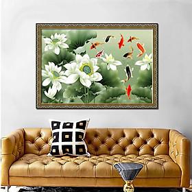 Tranh treo tường - tranh cá cửu ngư quần hội - Cá chép hoa sen: 2392L8