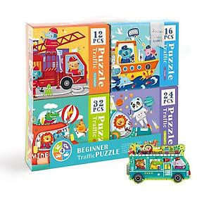 Mideer xếp hình 4 trong 1 - Beginner Puzzle 2 chủ đề : giao thông và động vật
