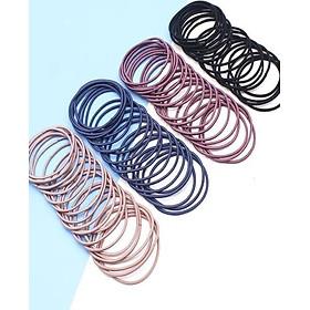 Hộp 100 Dây Cột Tóc Trơn Đơn Giản dây tròn Nhiều Màu Hili HL700002