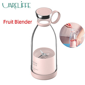 Uareliffe 380ML Electric Juicer Portable Wireless Mini USB Rechargeable Juice Cup Food Processor Waterproof Kitchen Mixer Double Blade Quick Juicing For Travel Home Use