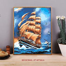 Tranh tự tô màu sơn dầu số hóa biển - Mã BC0640 Thuận buồm xuôi gió