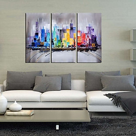 """Modern Framed Canvas Wall Art Hand Painted Painting """"Colorful City""""—ARTLAND 60*30cm*3"""