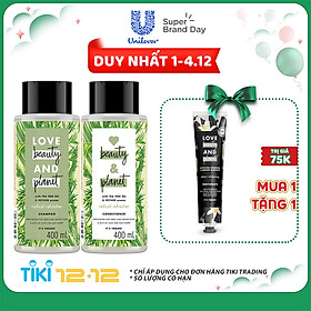 Combo Detox Tóc Dầu Bết Dầu Gội & Dầu Xả Love Beauty And Planet (400ml x 2)