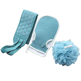 Silicone Body Shower Brush Belt Foaming Bath Ball Extended Back Scrubber Handle Cleaning and Exfoliating Pad Set With