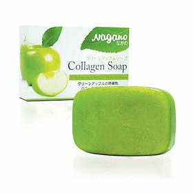 Xà Phòng Rửa Mặt Chiết Xuất Táo Xanh Nagano Japan 100g - Green Apple Collagen Soap Nagano - Làm sạch dầu, bụi bẩn, ngừa mụn và se khít lỗ chân lông