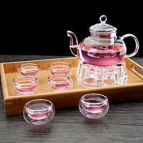 Bộ ấm chén pha trà thủy tinh có lõi lọc kèm khay trà