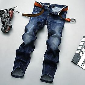 Quần Jeans Nam Co Giãn Cotton Ống Suông Wax Màu Jeans Classic