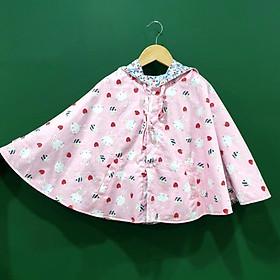 Áo khoác chống nắng 4 mùa kiểu áo cánh dơi poncho mặc 2 mặt cho bé gái từ 0 - 12 tuổi mẫu thỏ hồng đáng yêu