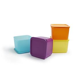 Bộ 4 hộp trữ mát Medium Square Round Tupperware 1lit