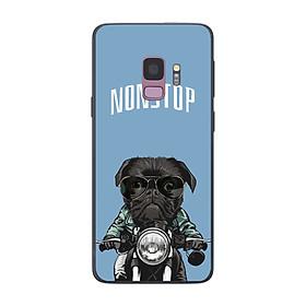 Ốp điện thoại in họa tiết Pug đen trên xe máy dành cho điện thoại Samsung Galaxy S9