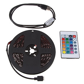 DC 5V USB LED RGB Strip Light TV Back Lighting Kit With 24-Key Remote Control(Battery Included) - 5m