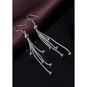 Bông tai tua dài nữ tính - trang sức bạc thái 925