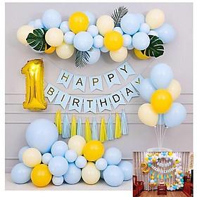 Combo bong bóng trang trí sinh nhật happy birthday màu xanh pastel, tặng đủ đồ phụ kiện trang trí CB07