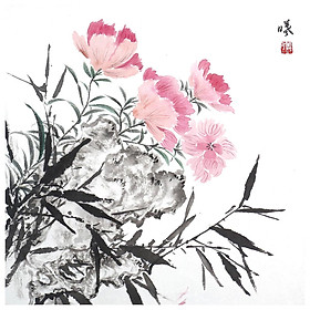 Tooarts Fragrant of Flowers Chinese Flower Painting Wall Art Artist Hand-Painted Chinese Brush Painting Traditional