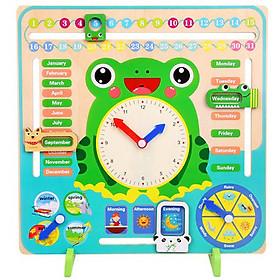 Bảng đồ chơi lịch đa năng, đồng hồ chú ếch cho bé