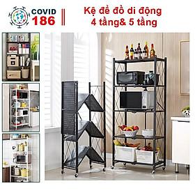 Kệ để đồ di động có bánh xe 4 tầng, 5 tầng để lò vi sóng có thể gấp gọn trang trí nhà cửa nhà bếp